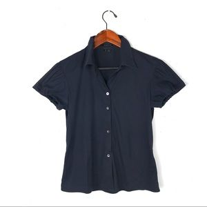 Theory blouse small Elida button down cap sleeve